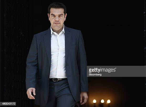 Alexis Tsipras Greece's prime minister exits Maximos Mansion in Athens Greece on Thursday July 9 2015 Greece is rushing to pull together a detailed...