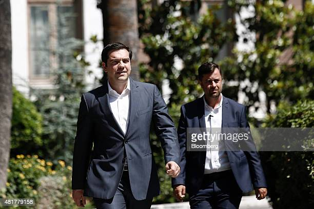 Alexis Tsipras Greece's prime minister left exits the presidential palace after attending a meeting with the Greek president and leaders of Greek...