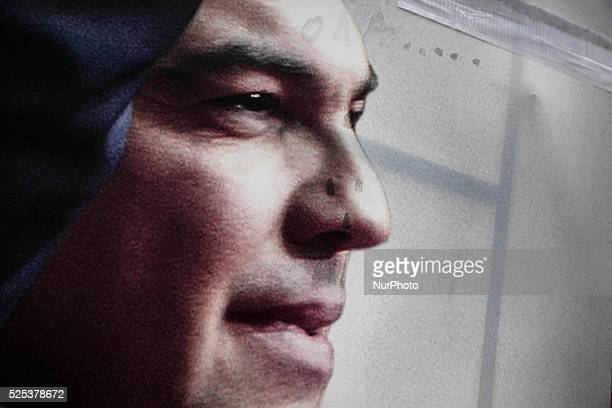 Alexis Tsipras leader of the Greek opposition party of SYRIZA on a preelection poster in Athens on January 18 2015