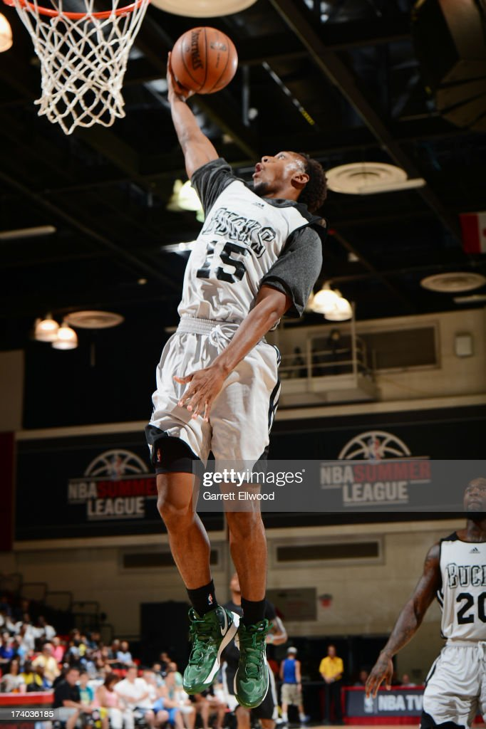 Alexis Wangmene #15 of the Milwaukee Bucks goes up for the dunk versus the San Antonio Spurs during NBA Summer League on July 19, 2013 at the Cox Pavilion in Las Vegas, Nevada.
