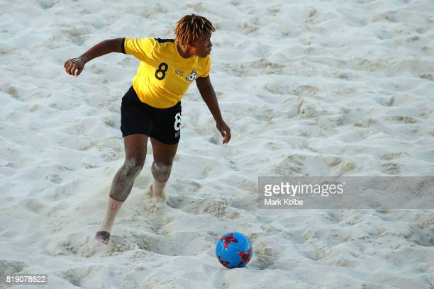 Alexis Woodside of the Bahamas looks to pass during the Girls Beach Soccer match 3 between the Bahamas and Jamaica on day 2 of the 2017 Youth...