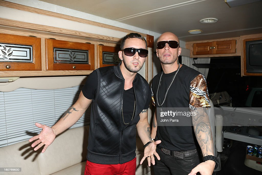 Alexis Y Fido backstage at the Zolazo concert at Bayfront Park Amphitheater on September 15, 2013 in Miami, Florida.