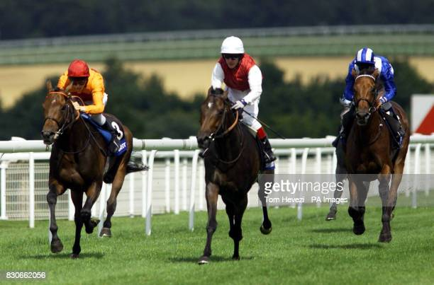 Alexius ridden by Kieren Fallon wins the third race ahead of Demophilos and Jamie Spencer and Nayef ridden by Richard Hills in The Peugeot Gordon...