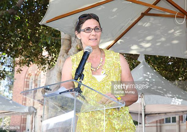 Alex's Lemonade Stand Foundation CoExecutive Director Liz Scott speaks onstage during the 7th annual LA Loves Alex's Lemonade at UCLA on September 10...