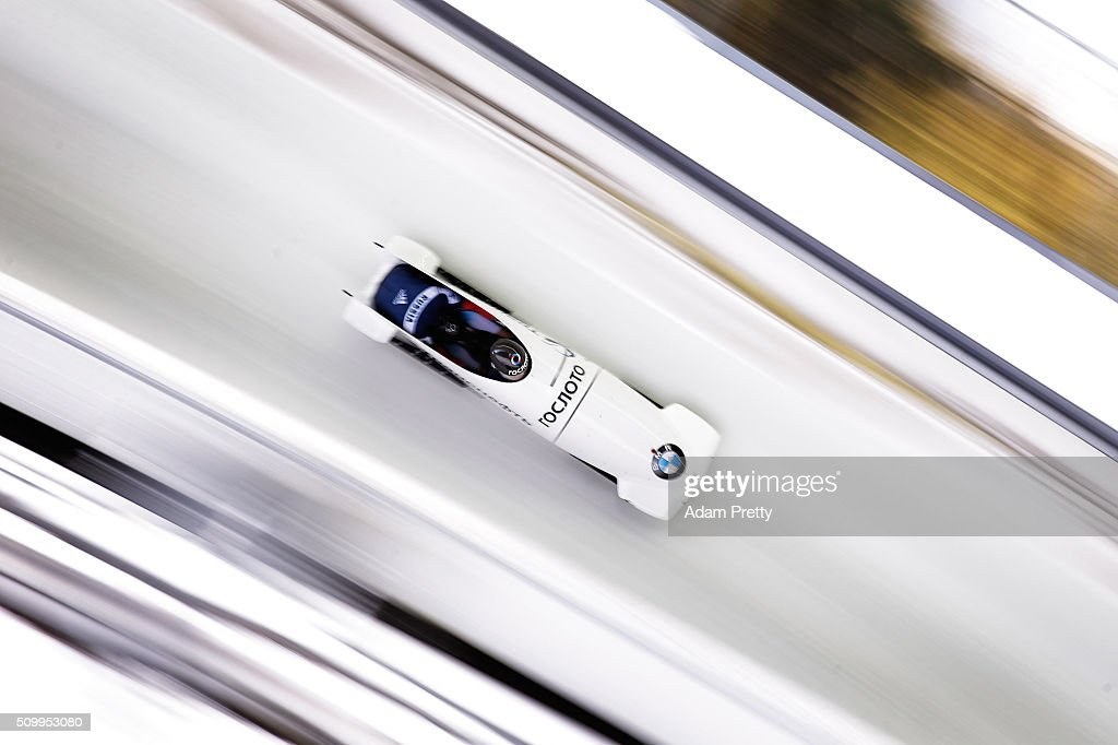 Alexy Stulnev and Maxim Belugin of Russia complete their second run in the Men's 2-man Bobsleigh during Day 2 of the IBSF World Championships for Bob and Skeleton at Olympiabobbahn Igls on February 13, 2016 in Innsbruck, Austria.