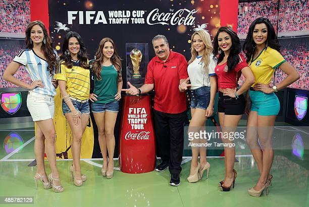 Aleyda Ortiz Alina Robert Aly Villegas Fernando Fiore Josefina Ochoa Nabila Tapia and Maria Elena Amaya pose during the FIFA World Cup Trophy Tour...