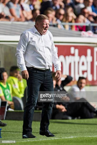 Alf Westerberg head coach of IFK Goteborg instructs his players during the Allsvenskan match between IFK Goteborg and BK Hacken at Gamla Ullevi on...