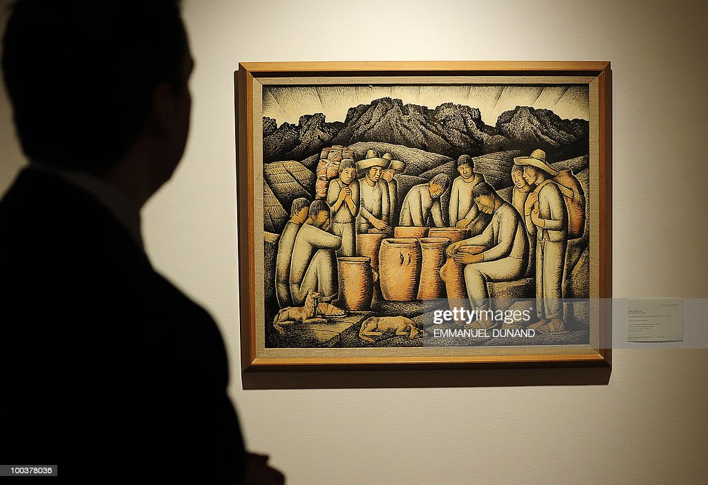 'Alfareros (Pottery Workers)' by Alfredo Ramos Martinez is on display during a preview of Christie's Latin American Art auctions, May 24, 2010 in New York. Christie's will hold its Latin American Art auctions on May 26 and 27, 2010. AFP PHOTO/Emmanuel Dunand