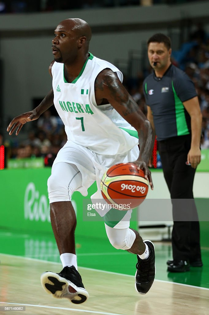 AlFarouq Aminu of Nigeria moves the ball during a Men's preliminary round basketball game between Nigeria and Argentina on Day 2 of the Rio 2016...