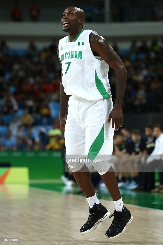 AlFarouq Aminu of Nigeria reacts during a Men's preliminary round basketball game between Nigeria and Argentina on Day 2 of the Rio 2016 Olympic...