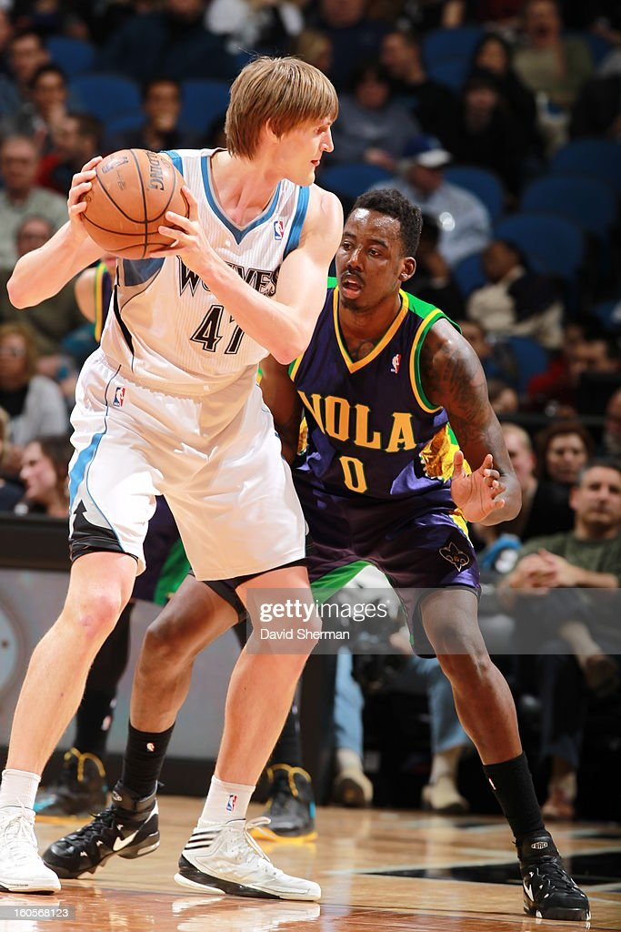 <a gi-track='captionPersonalityLinkClicked' href=/galleries/search?phrase=Al-Farouq+Aminu&family=editorial&specificpeople=5042446 ng-click='$event.stopPropagation()'>Al-Farouq Aminu</a> #0 of the New Orleans Hornets defends against <a gi-track='captionPersonalityLinkClicked' href=/galleries/search?phrase=Andrei+Kirilenko&family=editorial&specificpeople=201909 ng-click='$event.stopPropagation()'>Andrei Kirilenko</a> #47 of the Minnesota Timberwolves on February 2, 2013 at Target Center in Minneapolis, Minnesota.