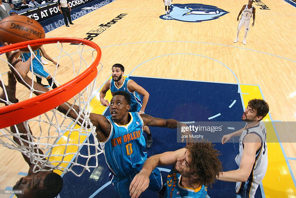 <a gi-track='captionPersonalityLinkClicked' href=/galleries/search?phrase=Al-Farouq+Aminu&family=editorial&specificpeople=5042446 ng-click='$event.stopPropagation()'>Al-Farouq Aminu</a> #0 of the New Orleans Hornets drives to the basket against the Memphis Grizzlies on January 27, 2013 at FedExForum in Memphis, Tennessee.