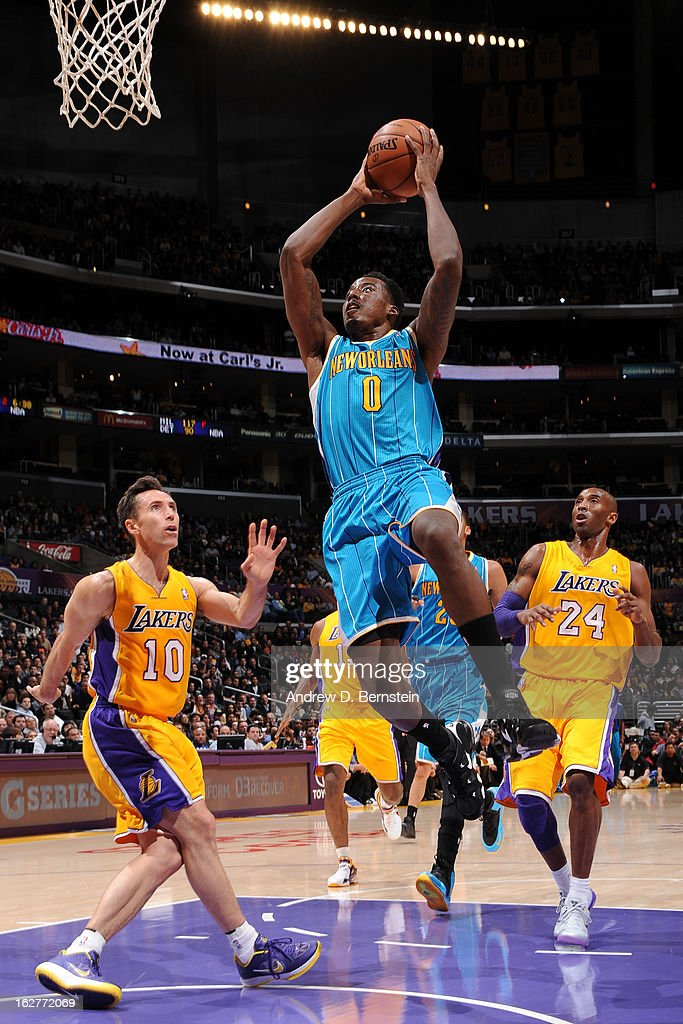 Al-Farouq Aminu #0 of the New Orleans Hornets drives to the basket against the Los Angeles Lakers at Staples Center on January 29, 2013 in Los Angeles, California.