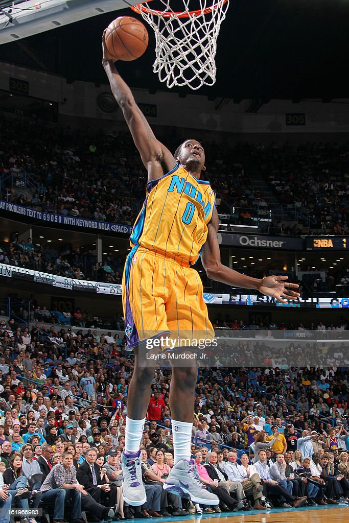 Al-Farouq Aminu #0 of the New Orleans Hornets dunks the ball against the Miami Heat on March 29, 2013 at the New Orleans Arena in New Orleans, Louisiana.