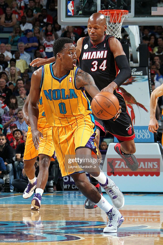 Al-Farouq Aminu #0 of the New Orleans Hornets gets the loose ball against the Miami Heat on March 29, 2013 at the New Orleans Arena in New Orleans, Louisiana.