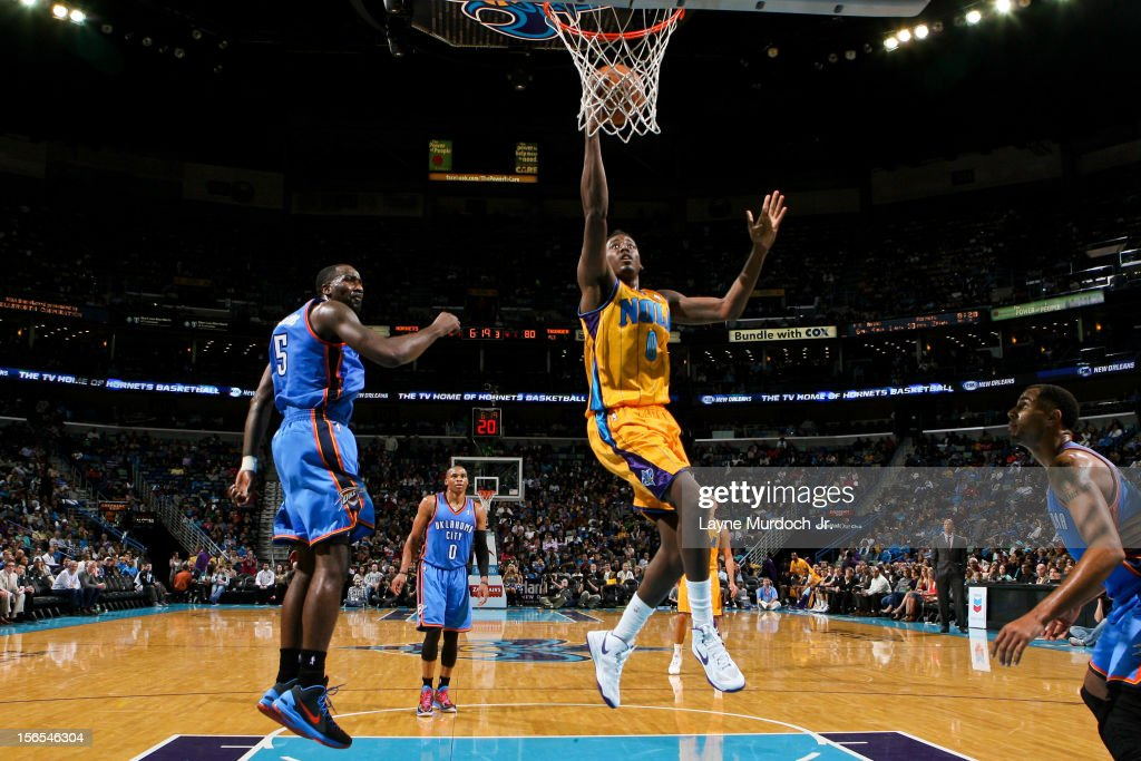 <a gi-track='captionPersonalityLinkClicked' href=/galleries/search?phrase=Al-Farouq+Aminu&family=editorial&specificpeople=5042446 ng-click='$event.stopPropagation()'>Al-Farouq Aminu</a> #0 of the New Orleans Hornets goes to the basket against the Oklahoma City Thunder on November 16, 2012 at the New Orleans Arena in New Orleans, Louisiana.