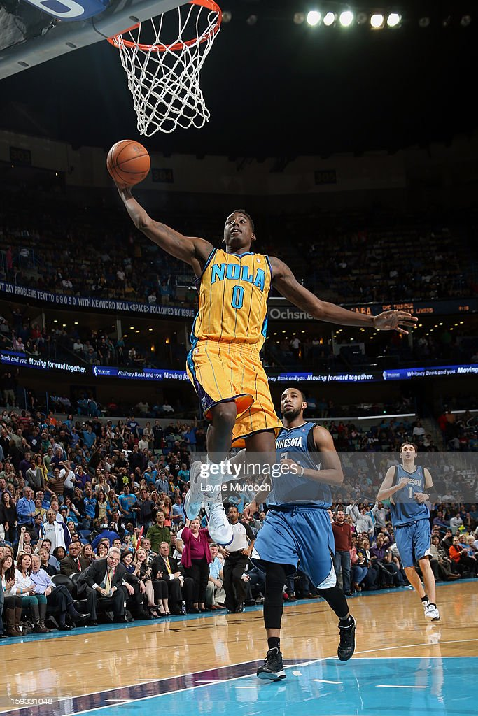 Al-Farouq Aminu #0 of the New Orleans Hornets goes up for the dunk against the Minnesota Timberwolves on January 11, 2013 at the New Orleans Arena in New Orleans, Louisiana.