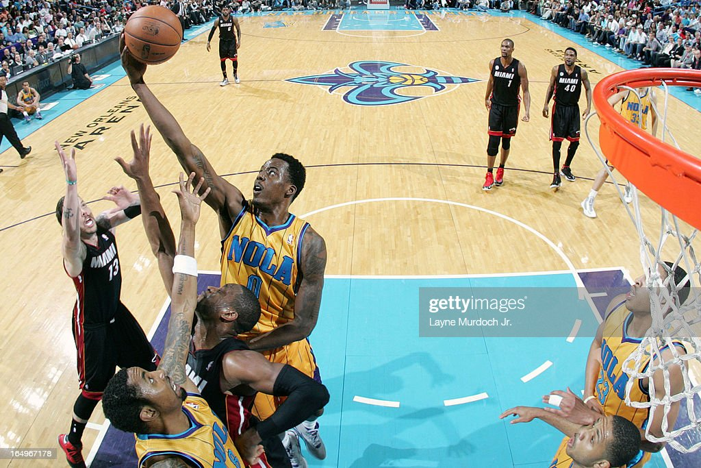 <a gi-track='captionPersonalityLinkClicked' href=/galleries/search?phrase=Al-Farouq+Aminu&family=editorial&specificpeople=5042446 ng-click='$event.stopPropagation()'>Al-Farouq Aminu</a> #0 of the New Orleans Hornets grabs a rebound against the Miami Heat on March 29, 2013 at the New Orleans Arena in New Orleans, Louisiana.