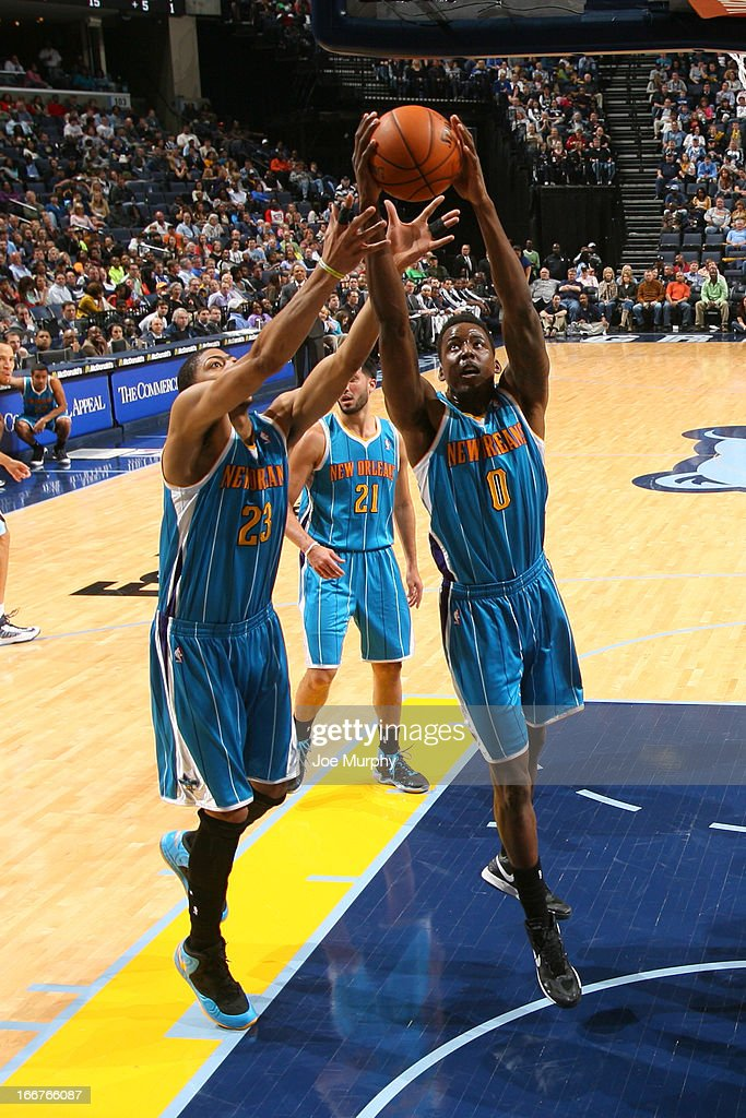 <a gi-track='captionPersonalityLinkClicked' href=/galleries/search?phrase=Al-Farouq+Aminu&family=editorial&specificpeople=5042446 ng-click='$event.stopPropagation()'>Al-Farouq Aminu</a> #0 of the New Orleans Hornets rebounds against the Memphis Grizzlies on March 9, 2013 at FedExForum in Memphis, Tennessee.