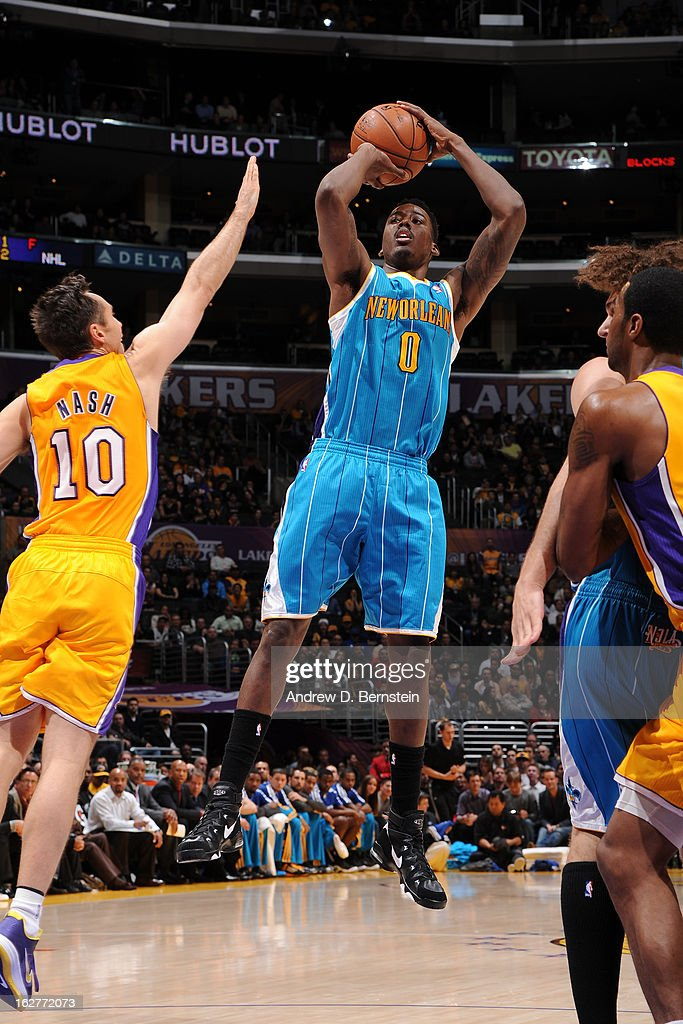 Al-Farouq Aminu #0 of the New Orleans Hornets takes a shot against the Los Angeles Lakers at Staples Center on January 29, 2013 in Los Angeles, California.