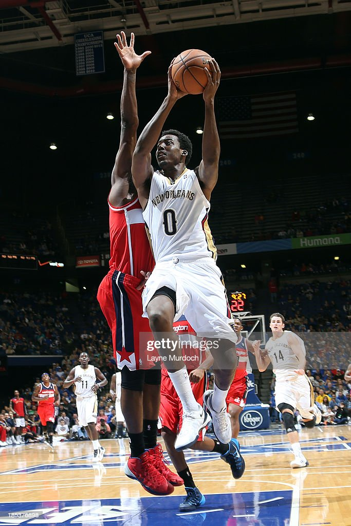 <a gi-track='captionPersonalityLinkClicked' href=/galleries/search?phrase=Al-Farouq+Aminu&family=editorial&specificpeople=5042446 ng-click='$event.stopPropagation()'>Al-Farouq Aminu</a> #0 of the New Orleans Pelicans against the Washington Wizards during an NBA game on October 19, 2013 at Rupp Arena in Lexington, Kentucky.
