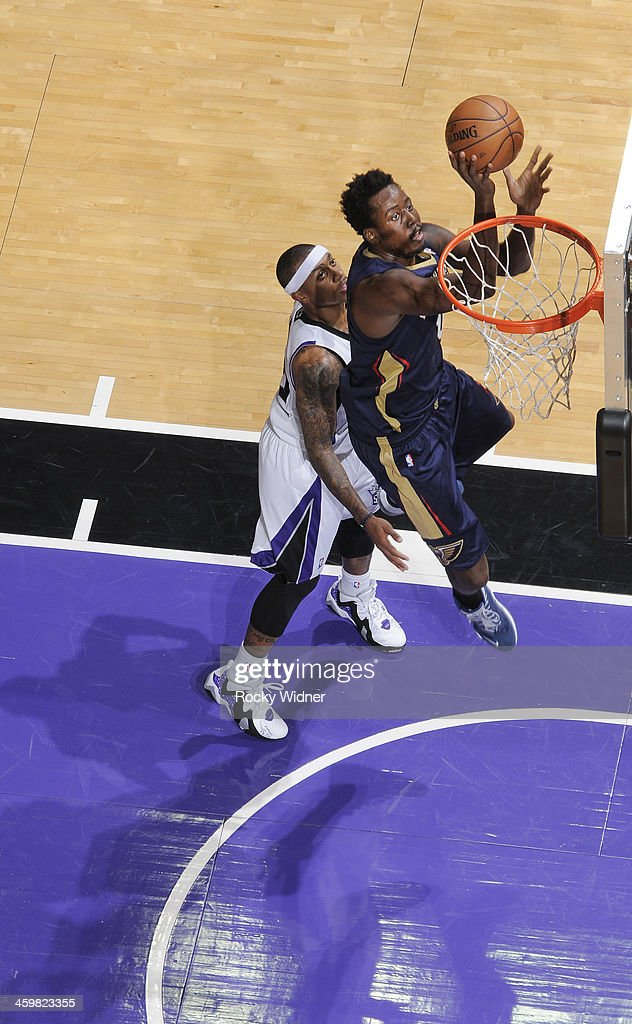 <a gi-track='captionPersonalityLinkClicked' href=/galleries/search?phrase=Al-Farouq+Aminu&family=editorial&specificpeople=5042446 ng-click='$event.stopPropagation()'>Al-Farouq Aminu</a> #0 of the New Orleans Pelicans shoots a layup against the Sacramento Kings on December 23, 2013 at Sleep Train Arena in Sacramento, California.