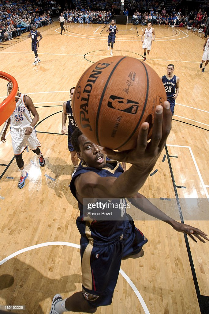 <a gi-track='captionPersonalityLinkClicked' href=/galleries/search?phrase=Al-Farouq+Aminu&family=editorial&specificpeople=5042446 ng-click='$event.stopPropagation()'>Al-Farouq Aminu</a> #0 of the New Orleans Pelicans shoots against the Oklahoma City Thunder during the NBA preseason game on October 17, 2013 at the BOK Center in Tulsa, Oklahoma.