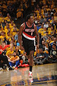 AlFarouq Aminu of the Portland Trail Blazers celebrates a play against the Golden State Warriors in Game Two of the Western Conference Semifinals...