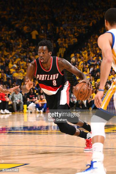 AlFarouq Aminu of the Portland Trail Blazers drives to the basket during the game against the Golden State Warriors during Game Two of the Western...