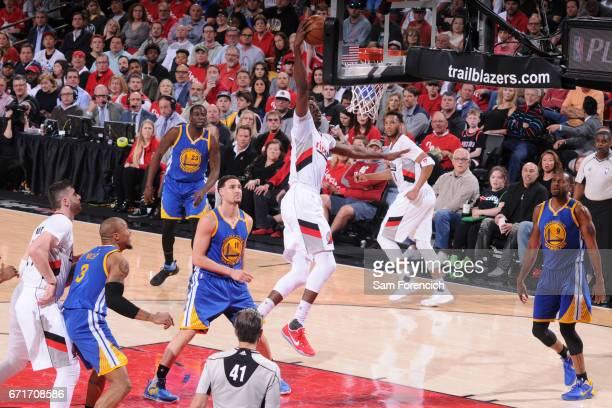 AlFarouq Aminu of the Portland Trail Blazers dunbks against the Golden State Warriors in Game Three of the Western Conference Quarterfinals of the...