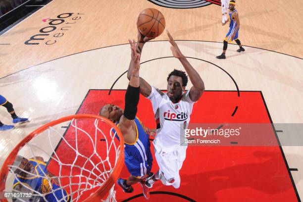 AlFarouq Aminu of the Portland Trail Blazers dunks against the Golden State Warriors in Game Three of the Western Conference Quarterfinals of the...