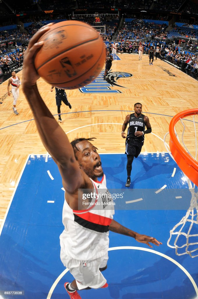 Al-Farouq Aminu #8 of the Portland Trail Blazers dunks the ball against the Orlando Magic on December 15, 2017 at Amway Center in Orlando, Florida.