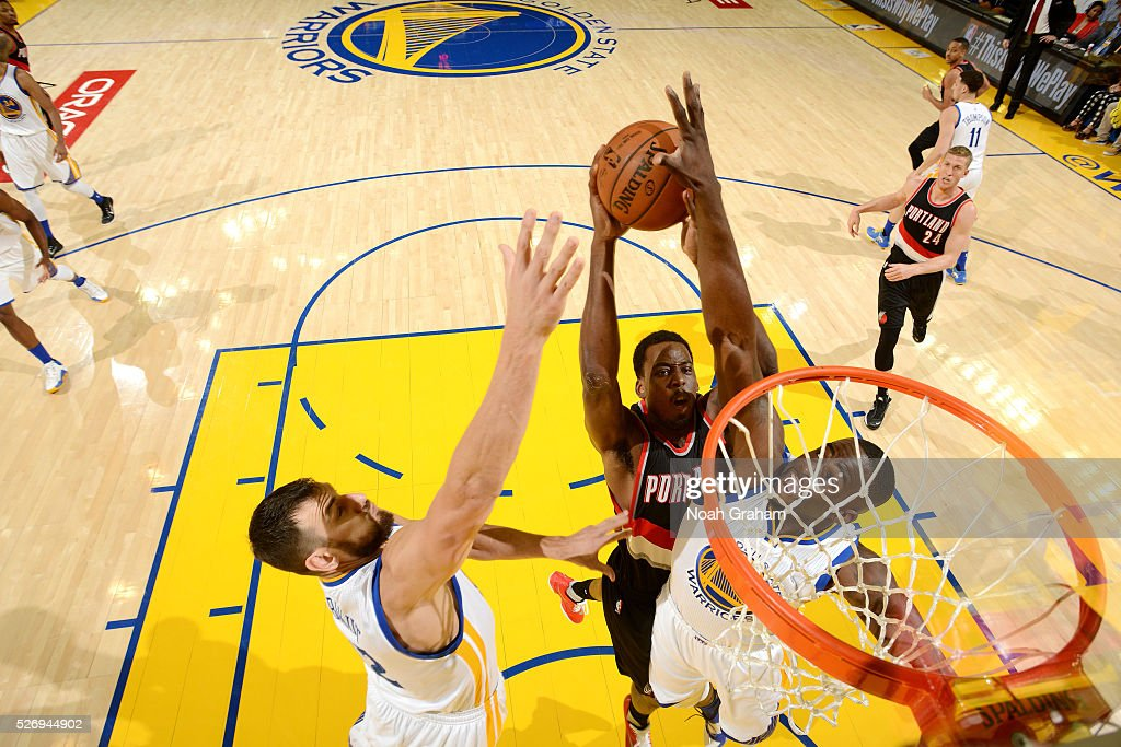 Al-Farouq Aminu #8 of the Portland Trail Blazers goes for the lay up during the game against the Golden State Warriors in Game One of the Western Conference Semifinals during the 2016 NBA Playoffs on May 1, 2016 at ORACLE Arena in Oakland, California.