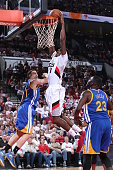 AlFarouq Aminu of the Portland Trail Blazers goes up for a dunk against the Golden State Warriors in Game Four of the Western Conference Semifinals...