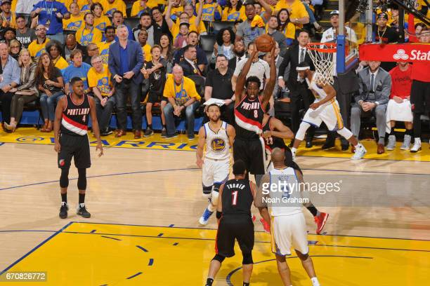 AlFarouq Aminu of the Portland Trail Blazers grabs a rebound against the Golden State Warriors during Game Two of the Western Conference...
