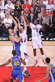 AlFarouq Aminu of the Portland Trail Blazers grabs the rebound against the Golden State Warriors in Game Four of the Western Conference Semifinals...