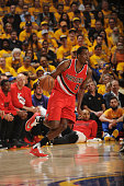 AlFarouq Aminu of the Portland Trail Blazers handles the ball against the Golden State Warriors in Game Five of the Western Conference Semifinals on...