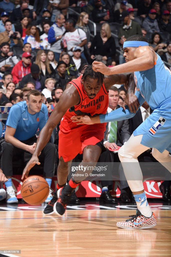 Al-Farouq Aminu #8 of the Portland Trail Blazers handles the ball against the LA Clippers on March 18, 2018 at STAPLES Center in Los Angeles, California.