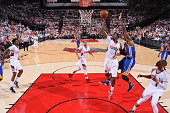 AlFarouq Aminu of the Portland Trail Blazers shoots against the Golden State Warriors in Game Three of the Western Conference Semifinals during the...
