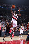 AlFarouq Aminu of the Portland Trail Blazers shoots the ball against the New Orleans Pelicans on October 28 2015 at the Moda Center in Portland...