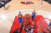 AlFarouq Aminu of the Portland Trail Blazers shoots the ball against the Golden State Warriors in Game Four of the Western Conference Semifinals...