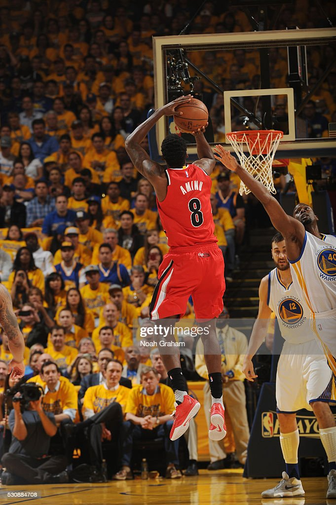 AlFarouq Aminu of the Portland Trail Blazers shoots the ball against the Golden State Warriors in Game Five of the Western Conference Semifinals on...