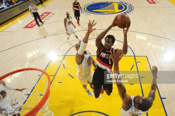 AlFarouq Aminu of the Portland Trail Blazers shoots the ball against the Golden State Warriors during the Western Conference Quarterfinals of the...