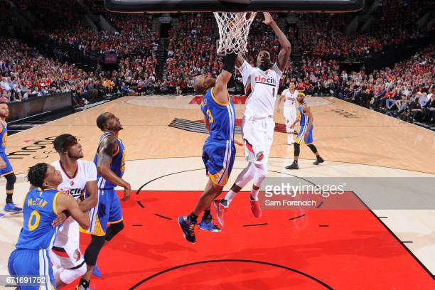 AlFarouq Aminu of the Portland Trail Blazers shoots the ball against the Golden State Warriors in Game Three of the Western Conference Quarterfinals...