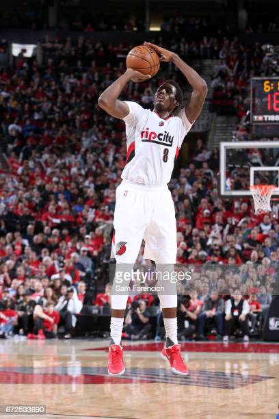AlFarouq Aminu of the Portland Trail Blazers shoots the ball against the Golden State Warriors during Game Four of the Western Conference...