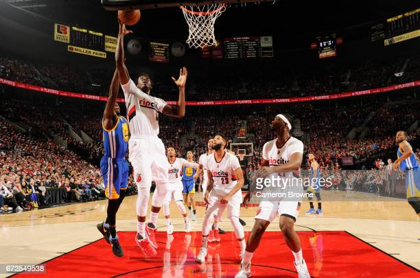 AlFarouq Aminu of the Portland Trail Blazers shoots the ball against the Golden State Warriors in Game Four of the Western Conference Quarterfinals...