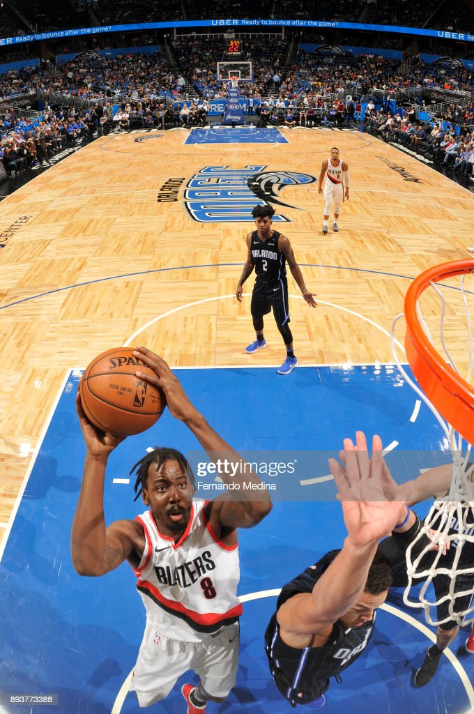 Al-Farouq Aminu #8 of the Portland Trail Blazers shoots the ball against the Orlando Magic on December 15, 2017 at Amway Center in Orlando, Florida.
