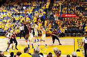 AlFarouq Aminu of the Portland Trail Blazers shoots the ball during the game against the Golden State Warriors in Game Two of the Western Conference...
