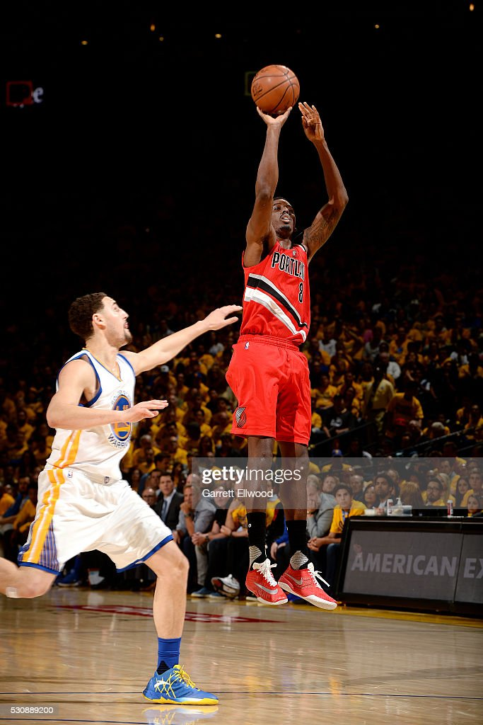 AlFarouq Aminu of the Portland Trail Blazers shoots the ball during the game against the Golden State Warriors in Game Five of the Western Conference...