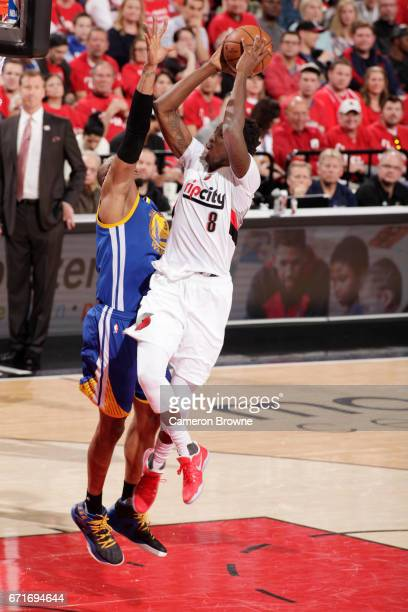 AlFarouq Aminu of the Portland Trail Blazers stb against the Golden State Warriors in Game Three of the Western Conference Quarterfinals of the 2017...